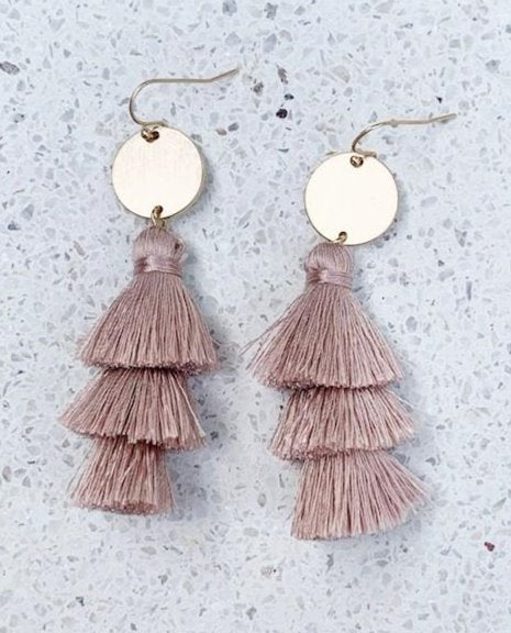 MAUVE COIN TASSEL EARRINGS