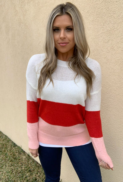 PINK & RED STRIPED KNIT SWEATER