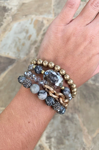 GREY & GOLD BEADED BRACELET STACK