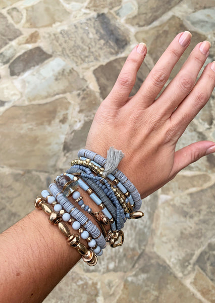 GREY BEADED BRACELET STACK