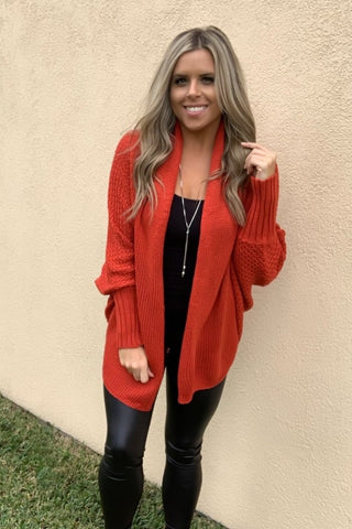 RED COCOON CARDIGAN
