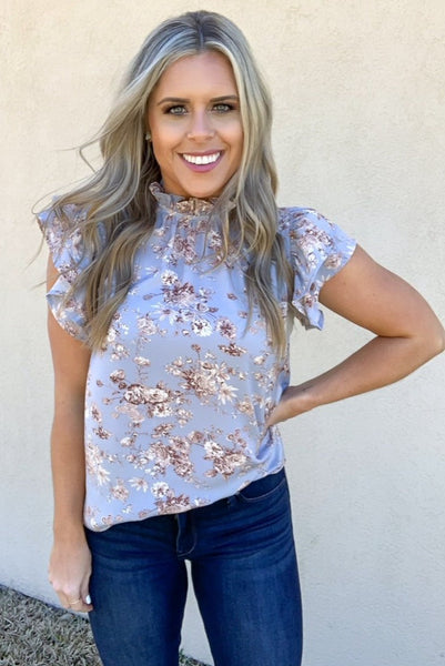 BLUE FLORAL MOCK NECK BLOUSE