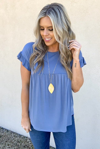 DENIM BLUE BABYDOLL TOP