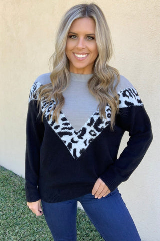 GREY & BLACK LEOPARD SWEATER