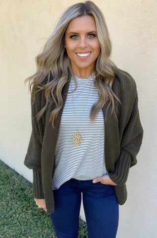 OLIVE COCOON CARDIGAN