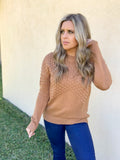 CAMEL CABLE KNIT SWEATER