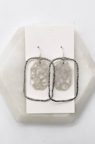 SILVER & WHITE ACRYLIC STATEMENT EARRINGS