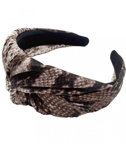 SNAKE PRINT KNOTTED HEADBAND