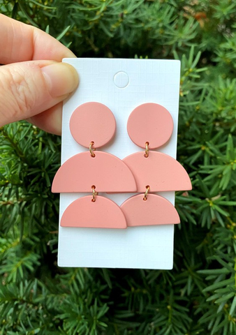 PINK STACKED ACRYLIC EARRINGS