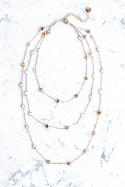 GOLD TRIPLE STRAND DISC NECKLACE