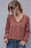 RUST FLORAL PRINTED BLOUSE