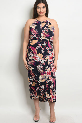 PLUS NAVY FLORAL DRESS