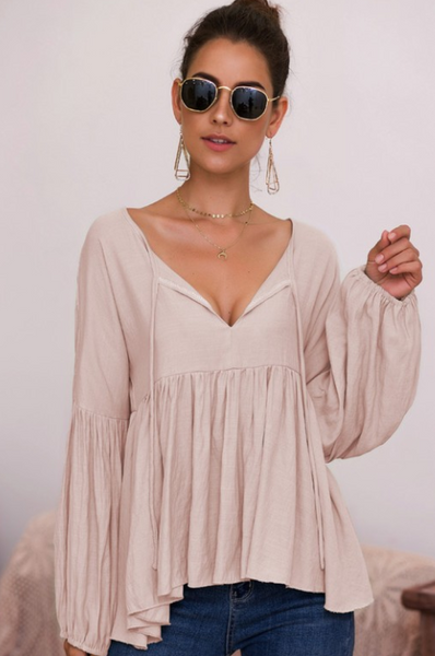 TAUPE BABYDOLL BLOUSE