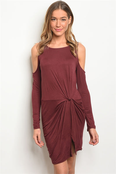 BERRY OPEN SHOULDER DRESS