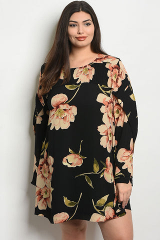 PLUS BLACK FLORAL DRESS