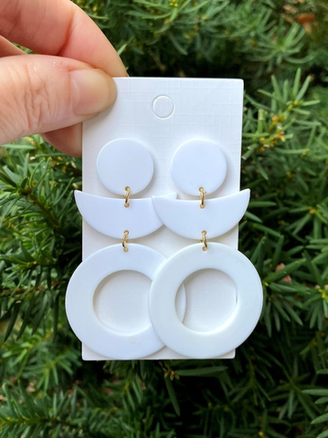 WHITE ACRYLIC STATEMENT EARRINGS