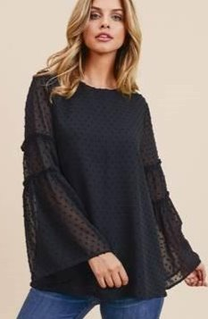 BLACK SWISS DOT BLOUSE