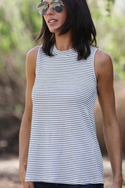 IVORY & BLACK STRIPED TANK