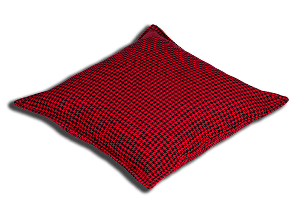 Aranda Weave Houndstooth Red Cushion