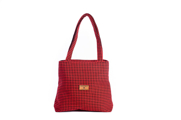 Houndstooth Red Tote