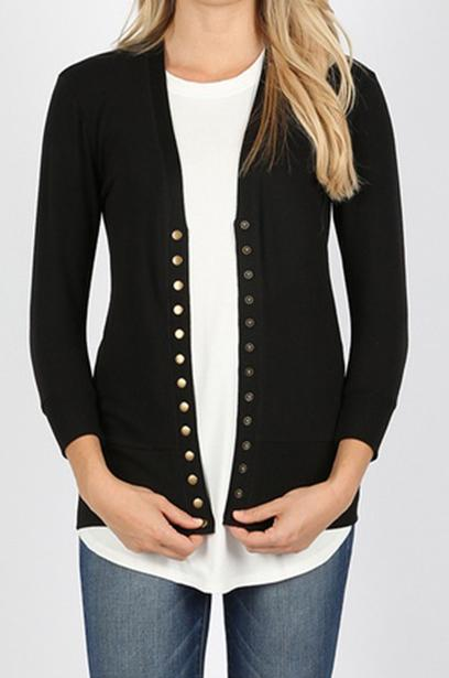 Madison Snap Button 3/4 Sleeve Cardigan