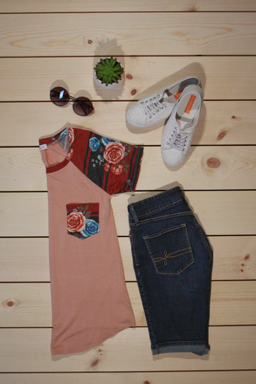 Solid and Flower Print Short Sleeve Top