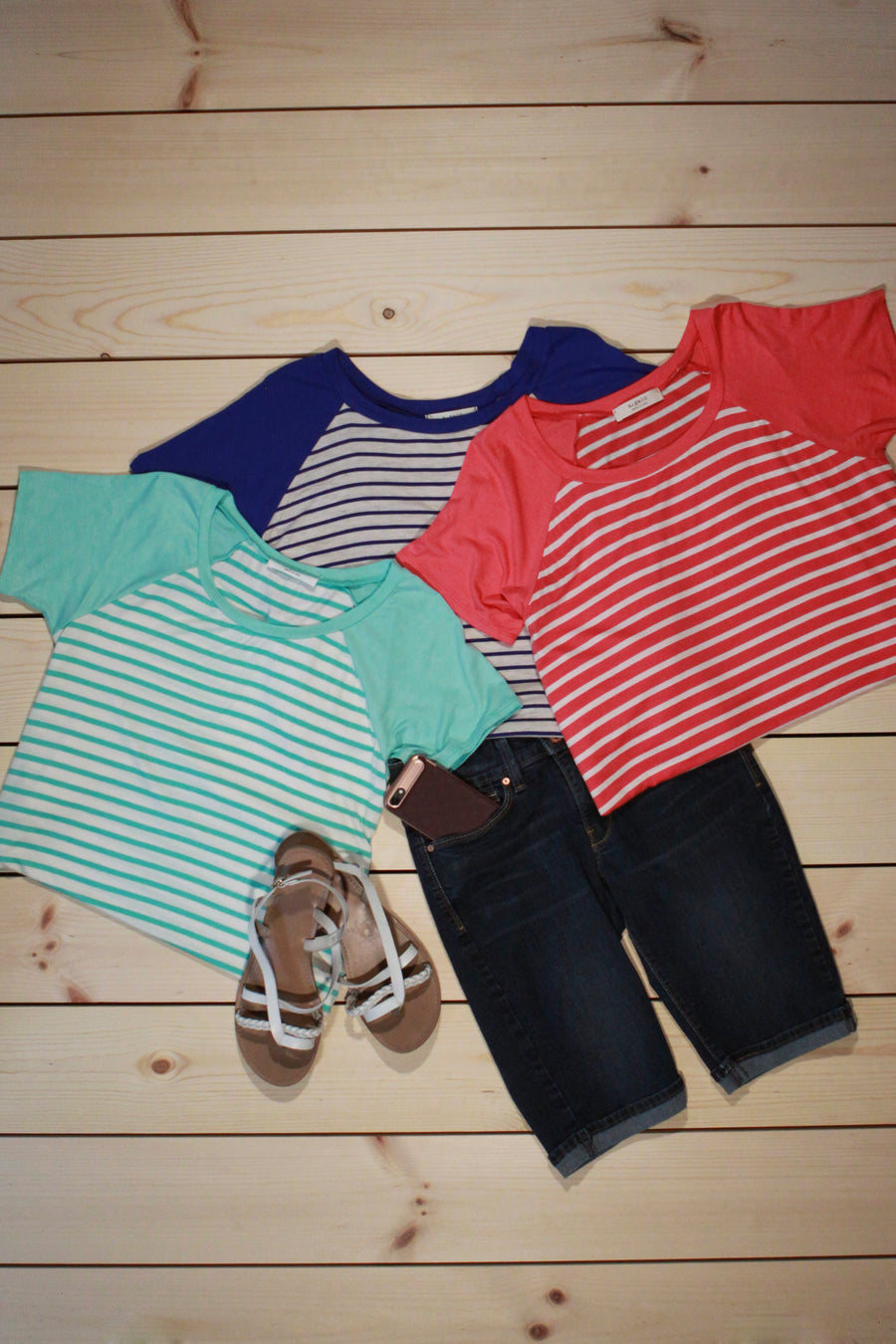 Striped Top With Contrast Sleeve