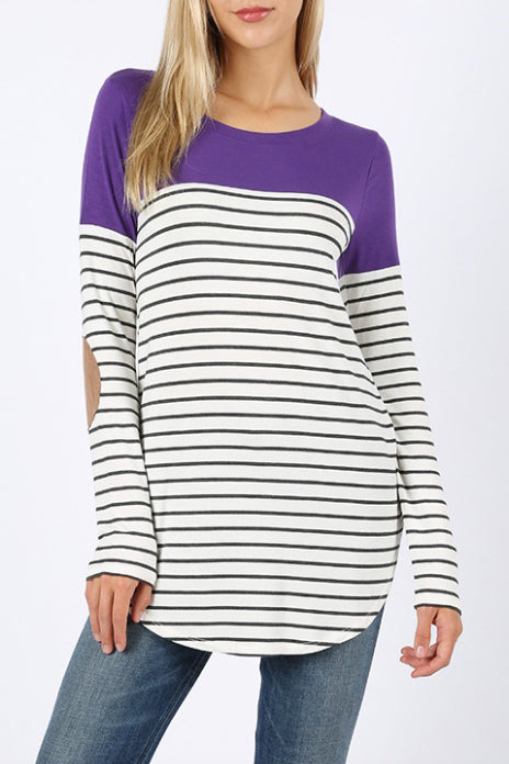 Annie Striped and Solid Color Block Top