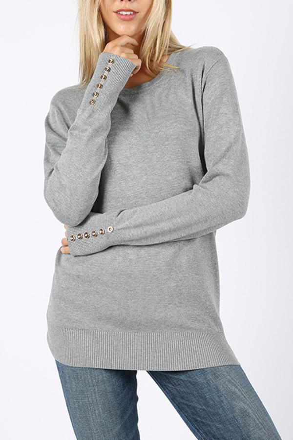 Natalie Sweater with sleeve button detail