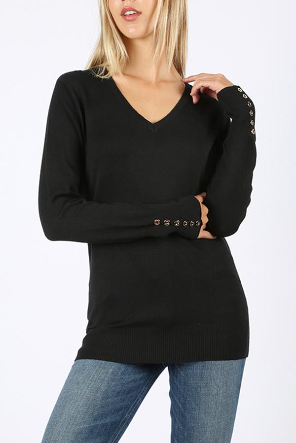 Emma V-Neck Sweater with button sleeve detail