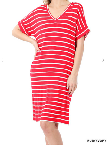 Relaxed Striped Tee Dress