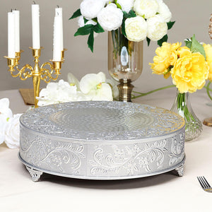 "18"" Silver Embossed Round Cake Plateau"
