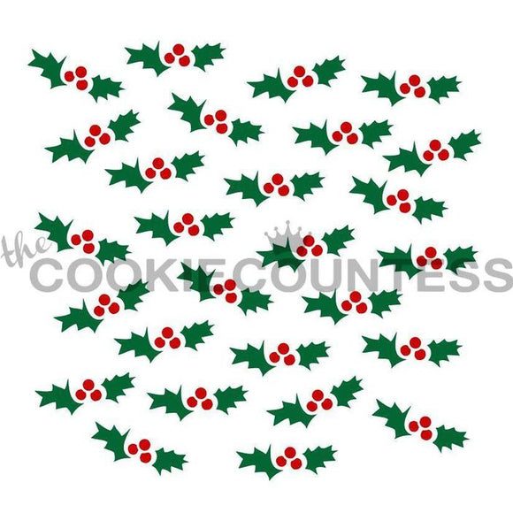 2 Piece Holly Stencil Set