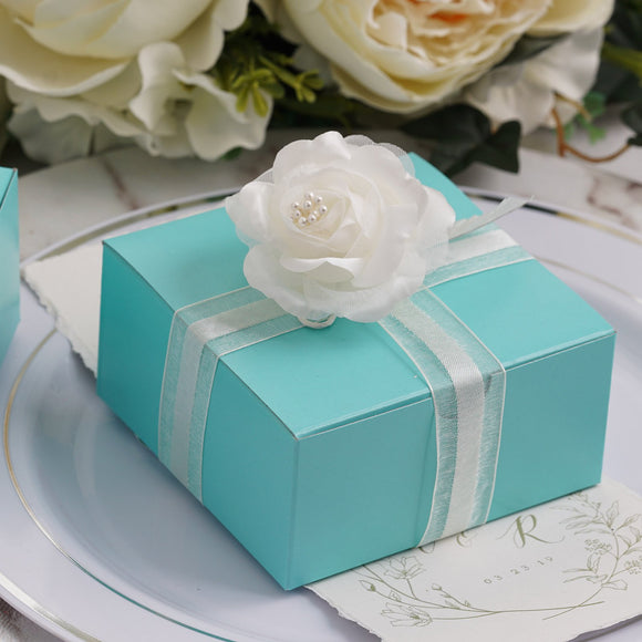 Turquoise Cake Party Favor Boxes