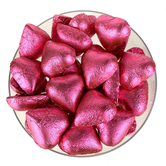 Pink Foil-Wrapped Chocolate Hearts