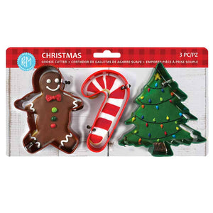 CHRISTMAS 3PC COLOR COOKIE CUTTER CARDED SET