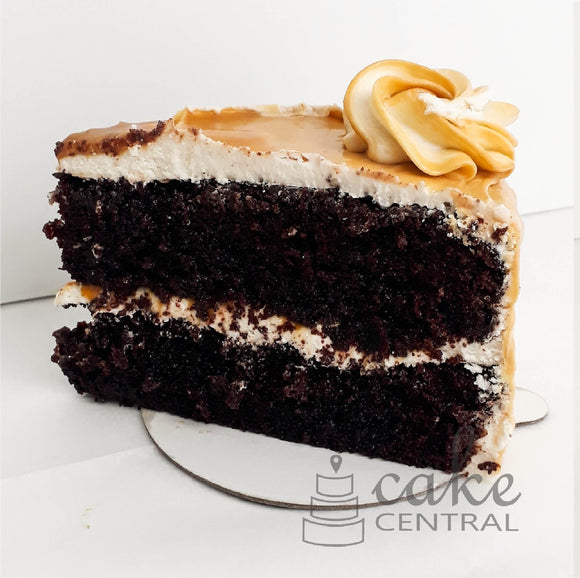 Chocolate Caramel Cake Slice