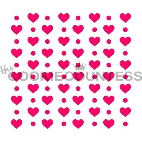 Hearts and Dots Stencil Pattern