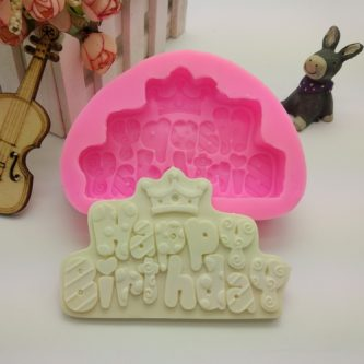 Happy Birthday Queen Embossing Silicone Mold