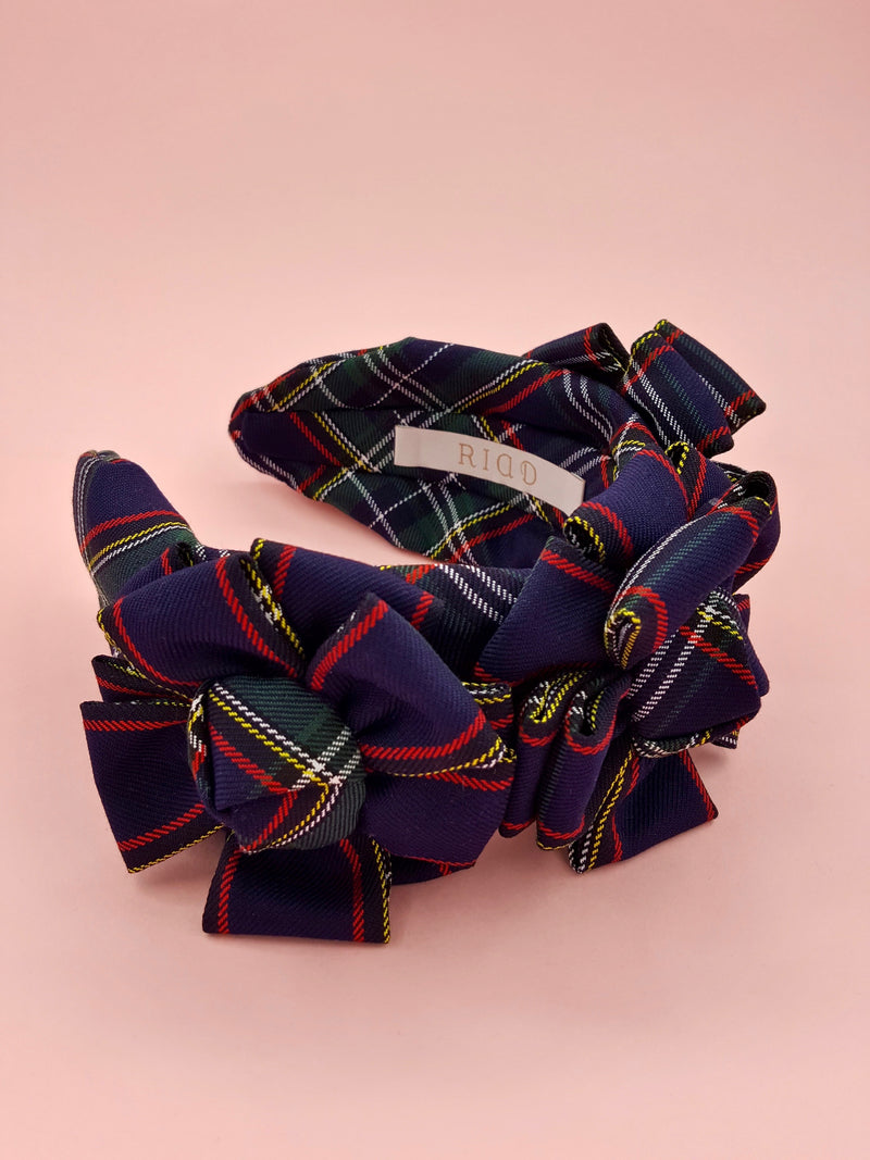 Navy Blue Plaid Double Layer Rosette Headband