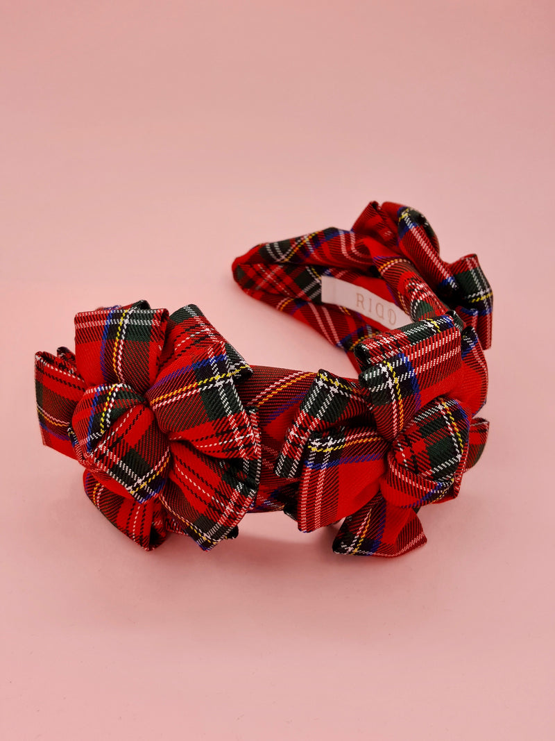 Red Plaid Double Layer Rosette Headband