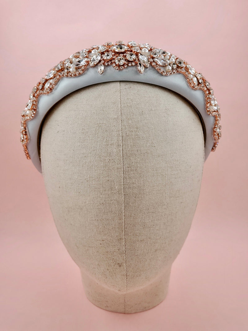Dusty Blue Jewelled Crown Headband