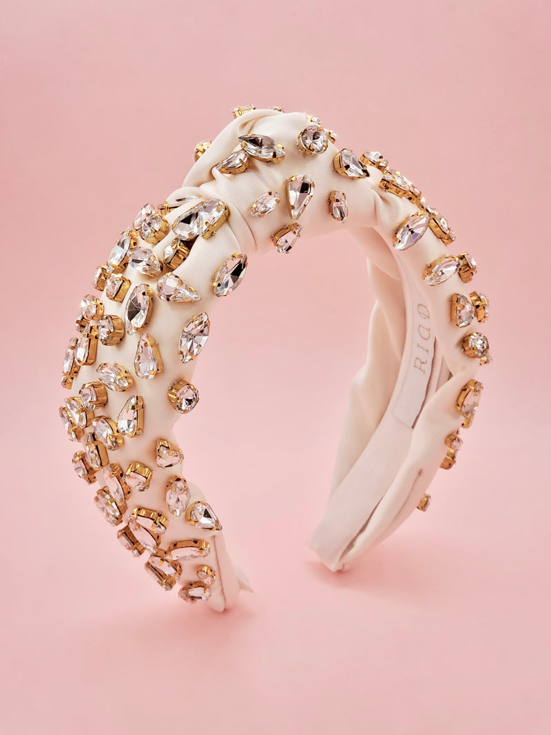 Ivory White Satin Headband with Crystal Embellishments