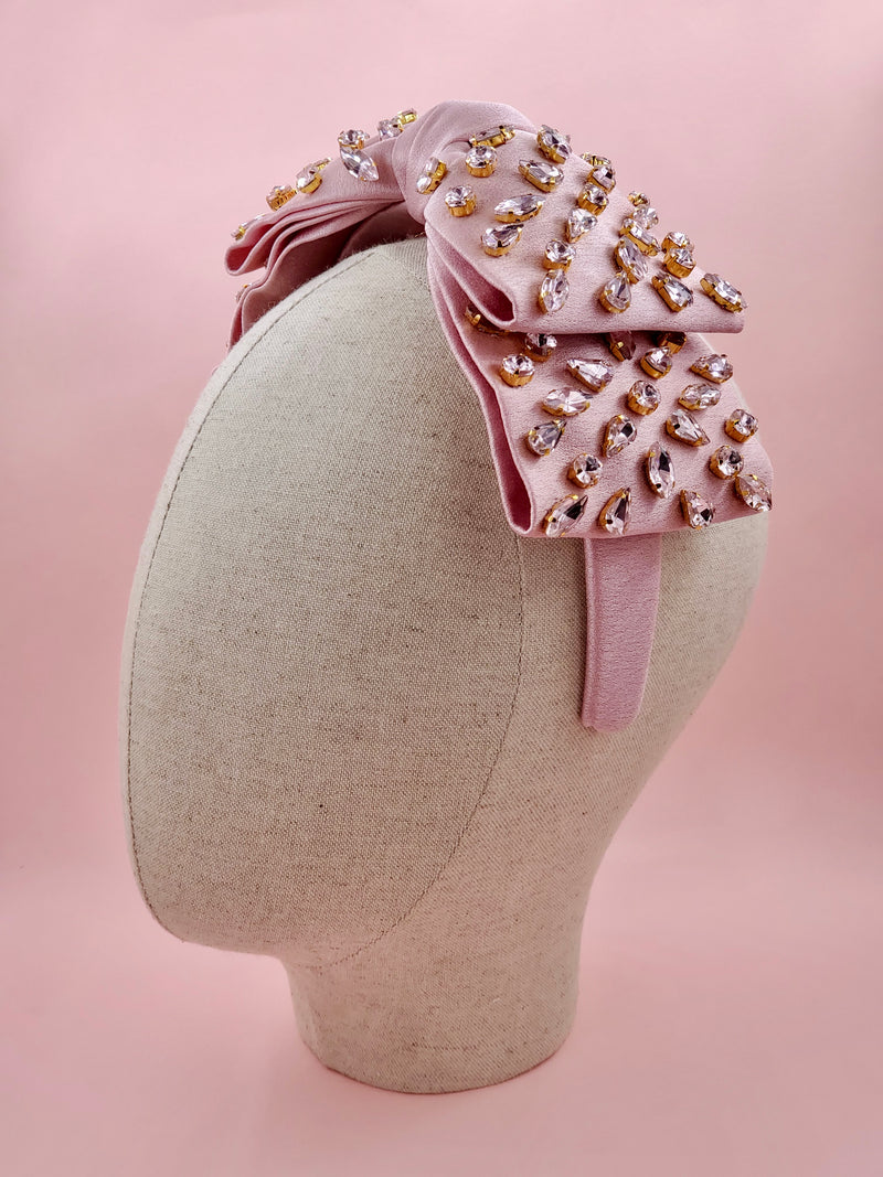 Pink Supersized Bow Headband with Rhinestone Embellishments
