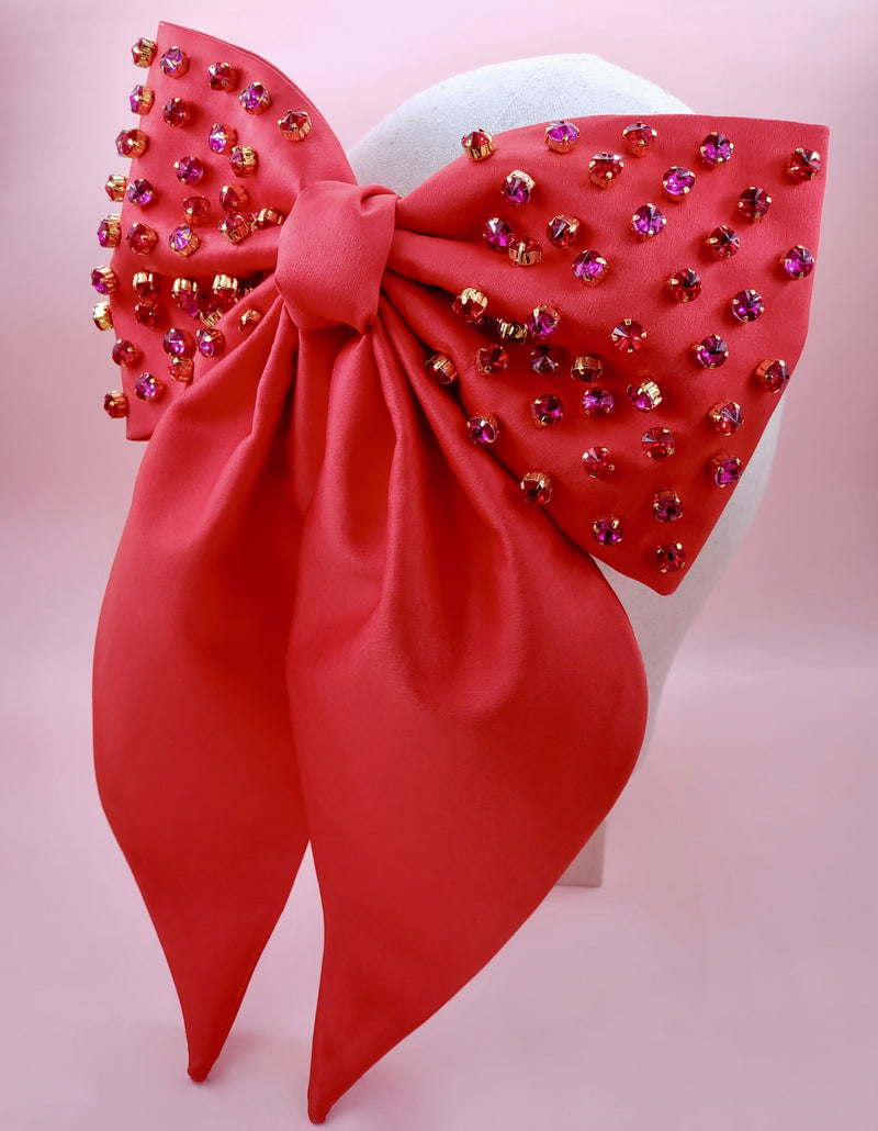Supersized Red Satin Bow with Rhinestones