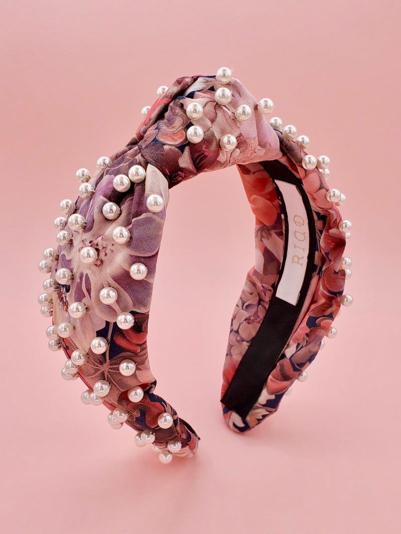 Liberty London Pink Floral Print Faux Pearl Headband