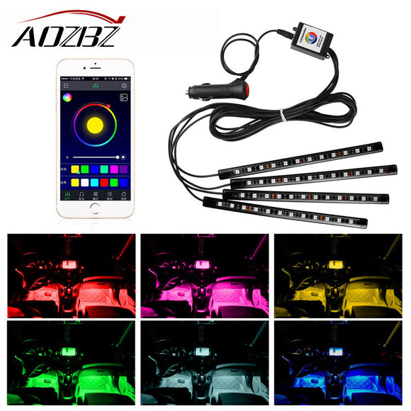 AOZBZ 4pcs RGB Strip Light Bluetooth Phone Control Decorative Lamp Kit  Car Interior Flexible
