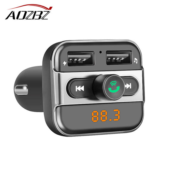 Aozbz MP3 Audio FM Transmitter Modulator Bluetooth 3.4A Dual USB Charger TF Slot