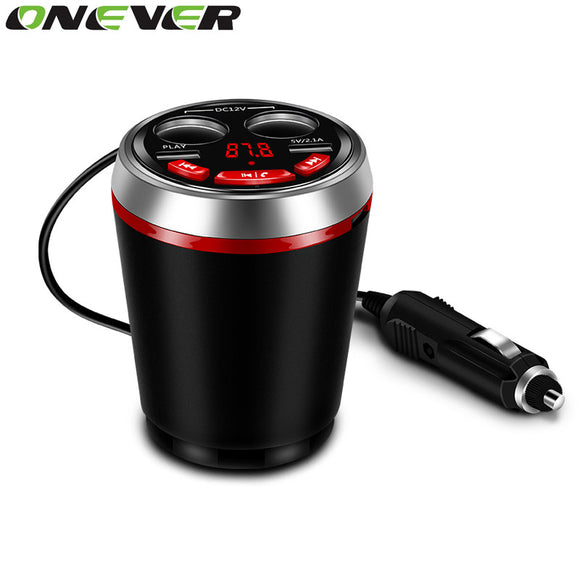 Onever 3 in 1 Bluetooth FM Transmitter Car Kit Fits In Cup Holder Cigarette Lighter 2 USB Power