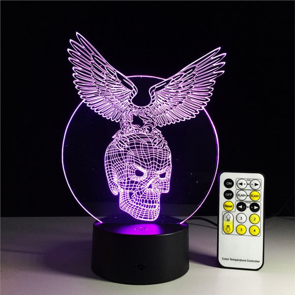 3D LED Lamp 7 Colour Change Touch Button Switch/Remote Control USB Powered Unique Lighting